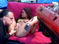 Finger bang and eat out a black chick outdoors