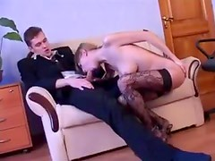 Young woman with perfect body sucks dick