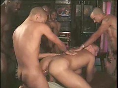Black guys pull a train on white guy in gangbang
