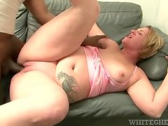 Big black cock fucks a fatty in her shaved pussy