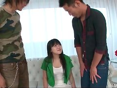 Cute teen with perky tits fondled by two guys