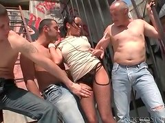 Big titty girl fondled and sucking dick outdoors