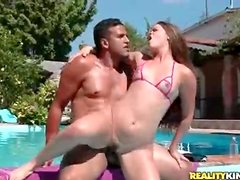 Big ass and little titties on a girl he fucks in the pool