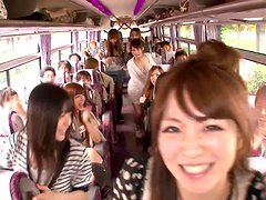 Crazy Orgy in a Moving Bus with Cock Sucking and Riding Japanese Sluts