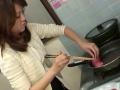 Japanese Wife Cooks and Gets Fucked Before Taking Cum on Her Body