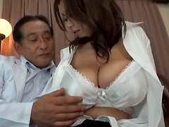 Busty Stunner Riai Sakuragi Fucked Hard Against the Desk