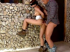 Sexy brunette babe Mira sucksa huge weenie before poundered hard while being blind-folded