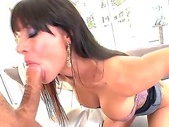 Delicious juicy brunette bitch Gia DiMarco with big boobs sucking big cock of Mick Blue