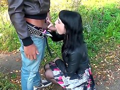 Brunette teen Lina gets seduced by horny male into deep fucking her shaved cunt with him