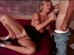 Her blowjob makes him cum on her face