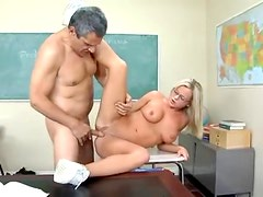 Bree Olsen in glasses has sex with her teacher