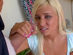 Blond chick agrees to suck a big dick