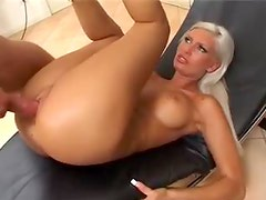 Platinum blonde Euro girl fucked in her tight cunt