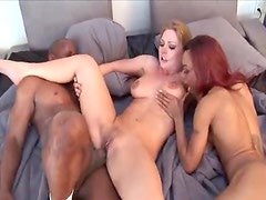 Black guy loves to get rough with these two sluts