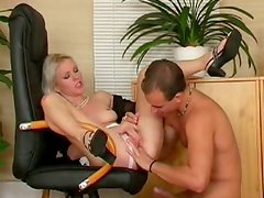 Blonde pale skin secretary serves her pussy for her boss