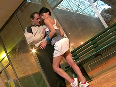 Sextractive Mademoiselle Justine drilled in her zesty pussy