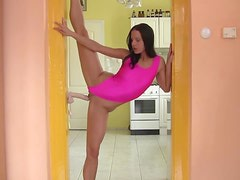 Insanely flexible amateur in pink swimsuit bones toy
