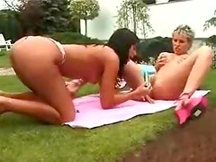 A double dildo penetration with hotties outdoors