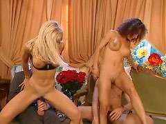 Two hot Euro chicks give their bodies to guys