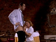Insatiable mom gets fucked by energetic young waiter