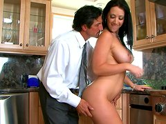 Jayden Jaymes rides on a long hard dick in the kitchen