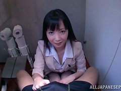 Tsumugi Serizawa Sucking and Jerking Off a Cock in POV Vid in Restroom