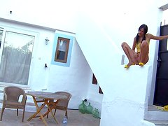 Naughty black haired teen Mia with skinny body and shaved