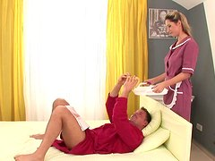 Sexy maid Daria brings coffee and gives blowjob early in the morning