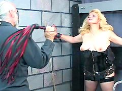 Alluring blonde with big boobs is getting gag in her mouth