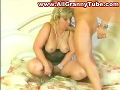 Blonde German BBW Granny blows and takes the cock in her holes
