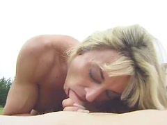 Really muscular blonde outdoor POV fuck and suck