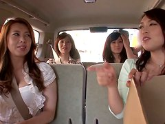 Four Gorgeous Japanese Babes Please One Guy in Reverse Gangbang