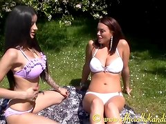 Hot busty babes get together for some oily lesbian fun