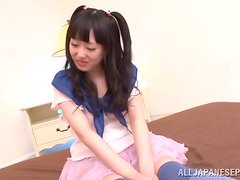 Uniforme - Lovely Asian Teen in Stockings Machiko Ono Toyed and Fucked