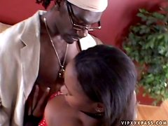 Ebony Chick Gets Her Gash Fucked By Big Black Dick