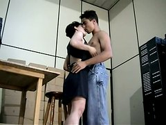 Chubby and sexy office slut Ariane sucking dick at work