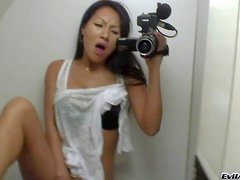 Exotic looking black haired asian hottie Asa Akira with perfect