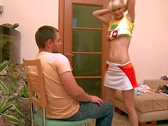 Turned on skinny blonde teen Loly with firm belly and