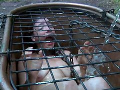 Maggie Mead is in the cage hole filled with mud till top