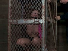 Busty girl from teh cage Ava Devine slurping  huge cock