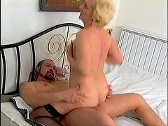 Lustful blonde granny Beatrice is getting banged bad in a doggy position