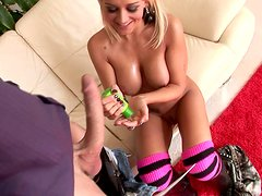 Dick addicted blondie Briana Blair pleases a long cock with sucking it