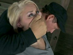 Cruel master tortures poor blonde Ash Hollywood