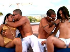 Marvelous Lucy Lee is bathing in a pool with brunette hottie and then sucks a hard prick