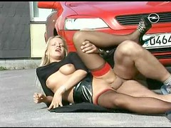 Leather skirt girl fucked on the hood of his car