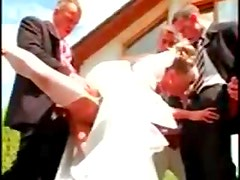 Gangbang of a hot bride with pissing