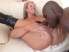 Latex girl is pounded by black cock