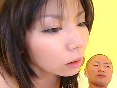 Cock lover Satomi Maeno gets her mouth fucked hard