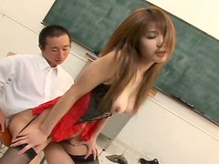 Svelte pale skin Japanese Ai Kurosawa fucks in the college room