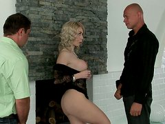 Ugly blonde mom Isabella Clark films in a hardcore threesome